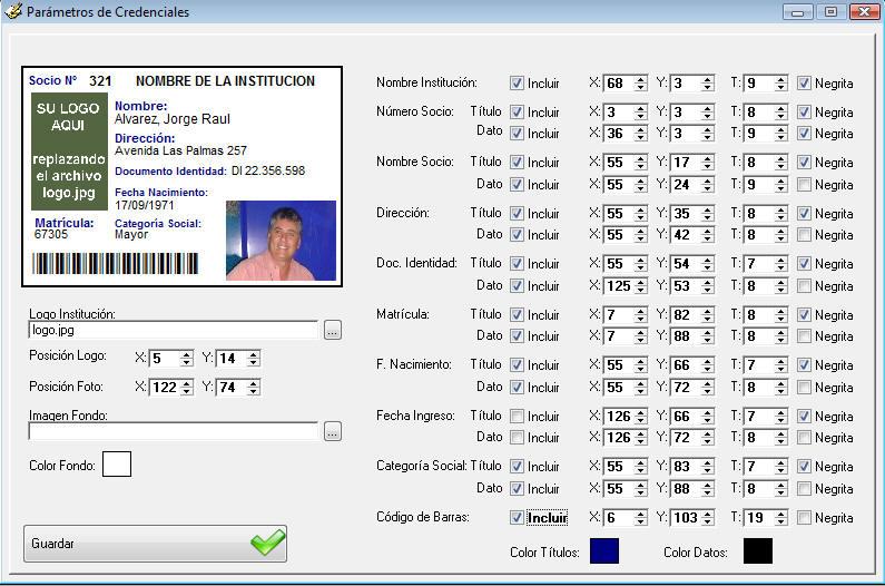 en la parte derecha de la pantalla se pueden seleccionar los distintos campos a imprimir su posicin horizontal x y vertical y el tamao t de la
